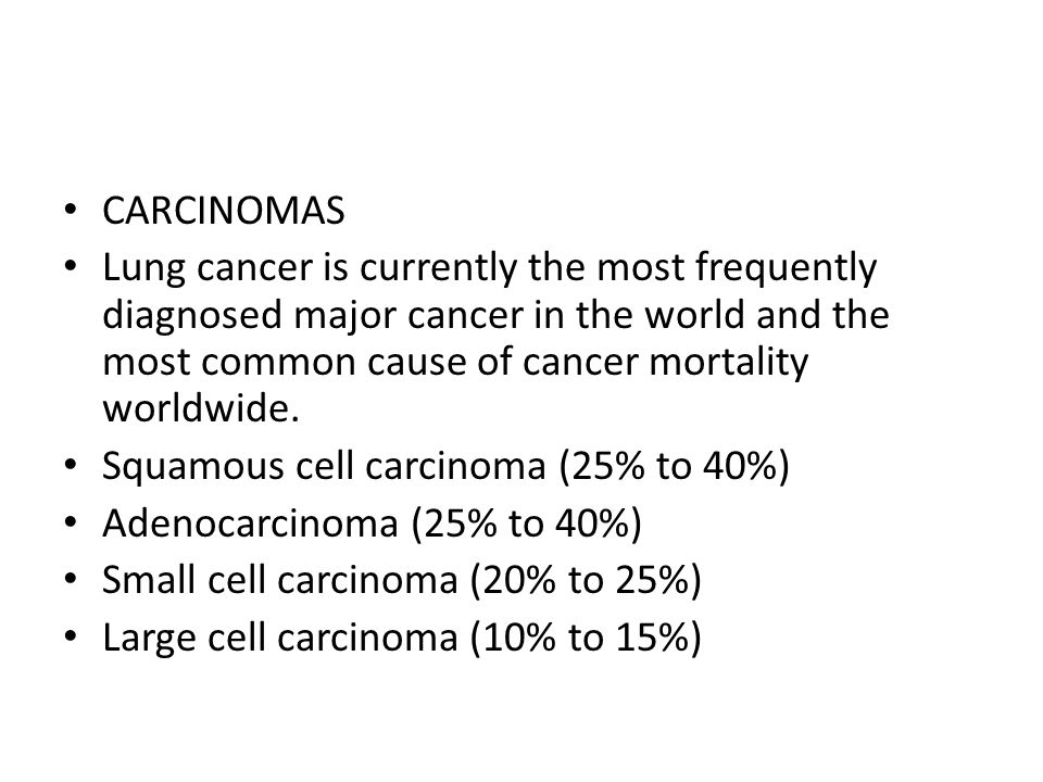 CARCINOMAS Lung cancer is currently the most frequently diagnosed major cancer in the world and the most common cause of cancer mortality worldwide.