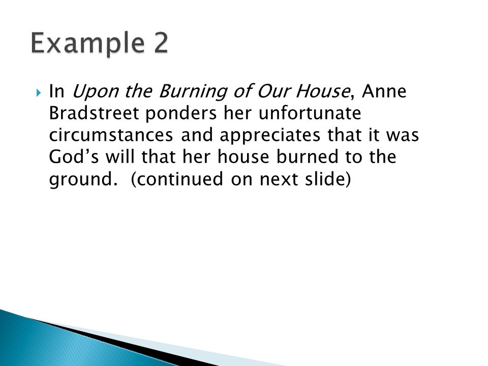 anne bradstreet 5 essay example Writing essays search this site essay  possible example thesis statements  anne bradstreet uses many symbols to get her point of the love for her husband.