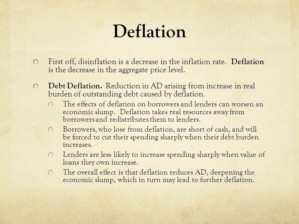 Deflation First off, disinflation is a decrease in the inflation rate. Deflation is the decrease in the aggregate price level.
