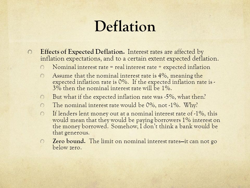 Deflation Effects of Expected Deflation. Interest rates are affected by inflation expectations, and to a certain extent expected deflation.