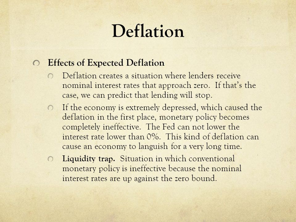 Deflation Effects of Expected Deflation