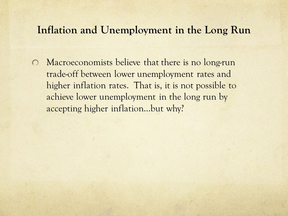 Inflation and Unemployment in the Long Run