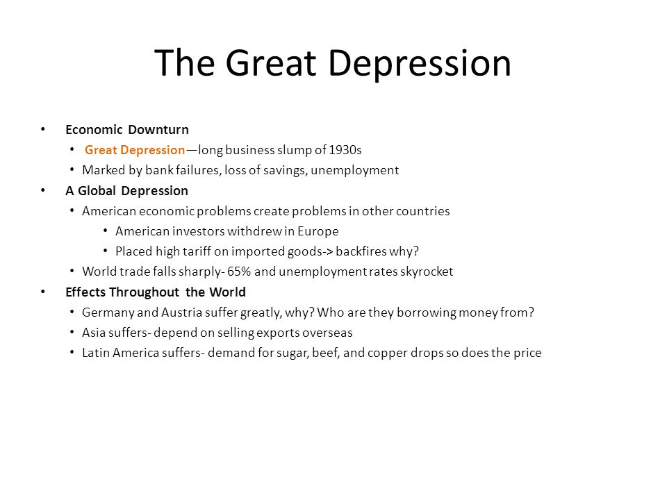 The Great Depression Economic Downturn A Global Depression