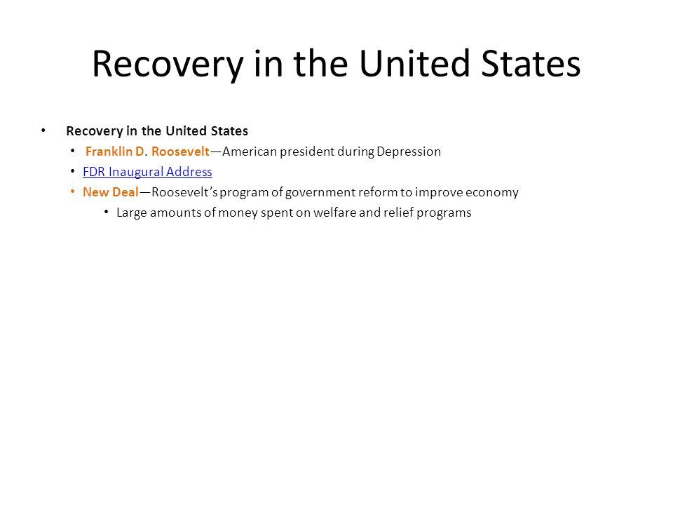 Recovery in the United States