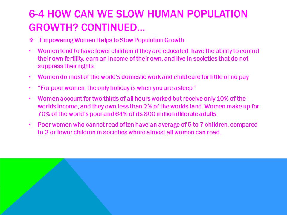 6-4 How can we slow human population growth Continued…