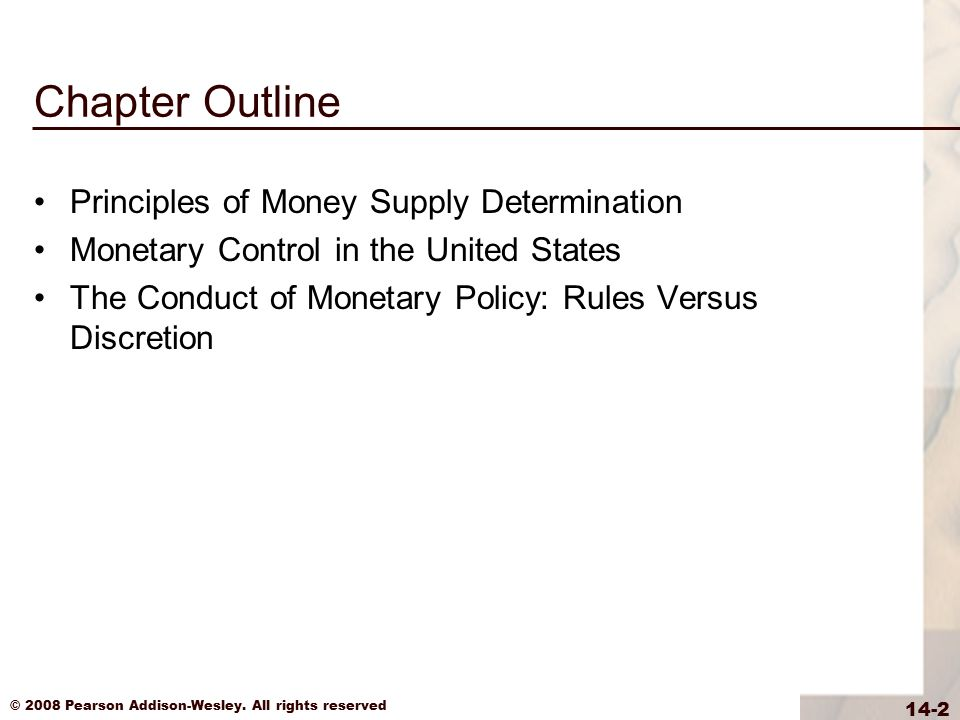 Chapter Outline Principles of Money Supply Determination