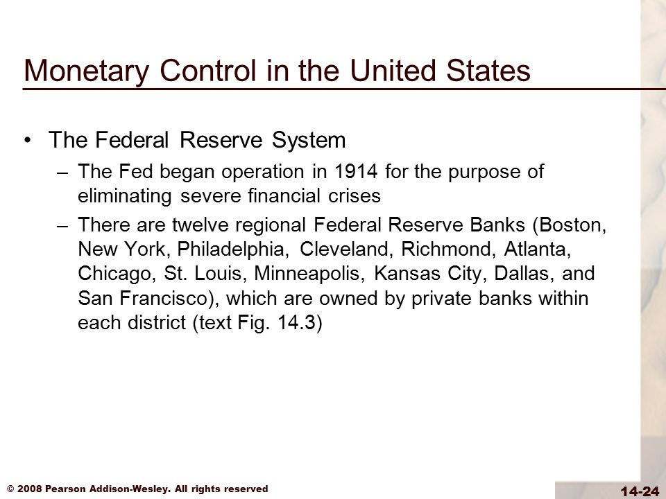 Monetary Control in the United States