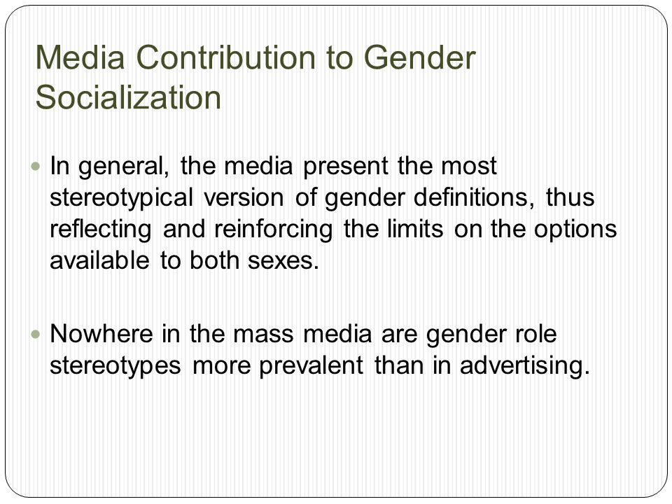 Media Contribution to Gender Socialization