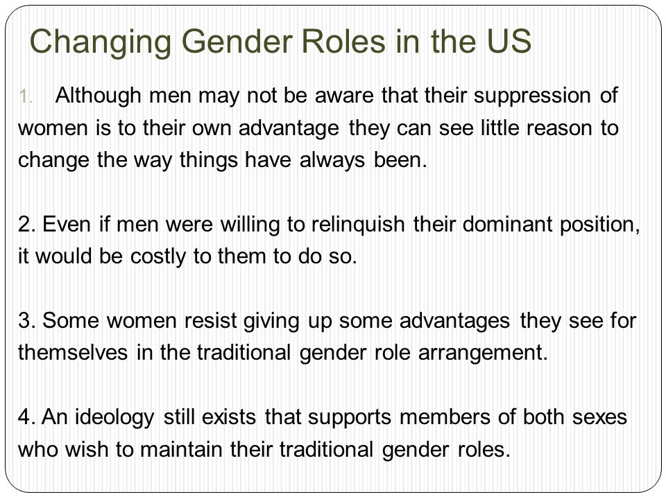 Changing Gender Roles in the US