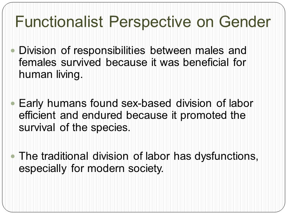 Functionalist Perspective on Gender