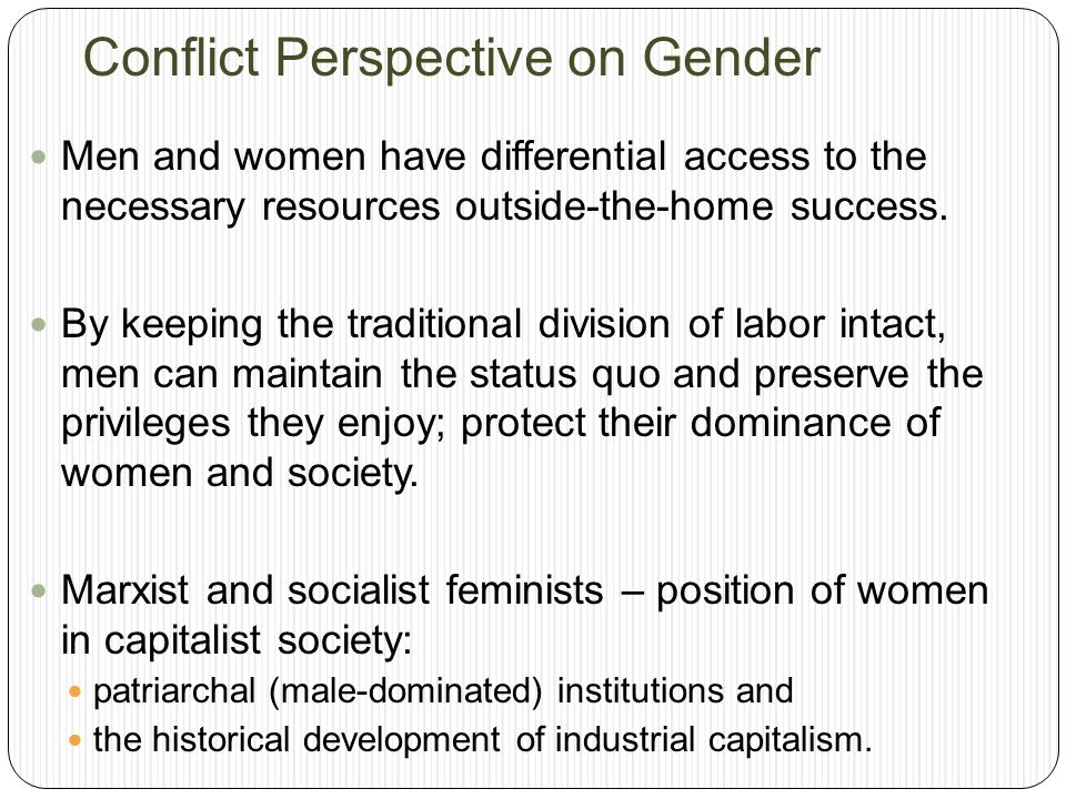 Conflict Perspective on Gender