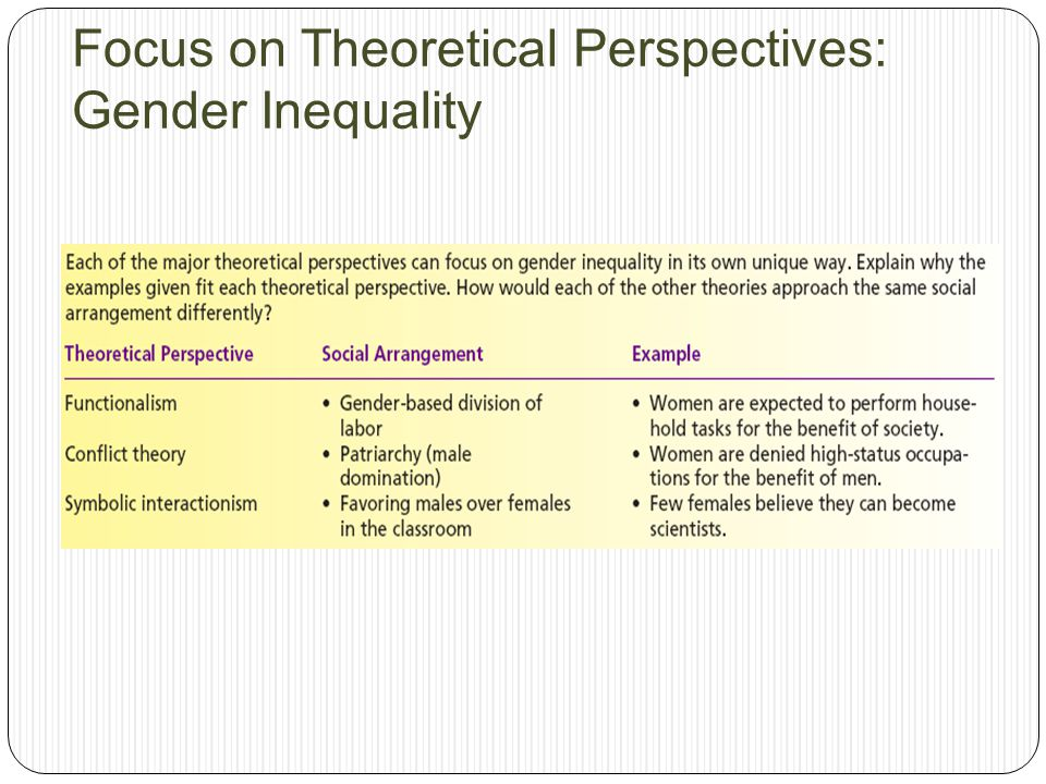 Focus on Theoretical Perspectives: Gender Inequality