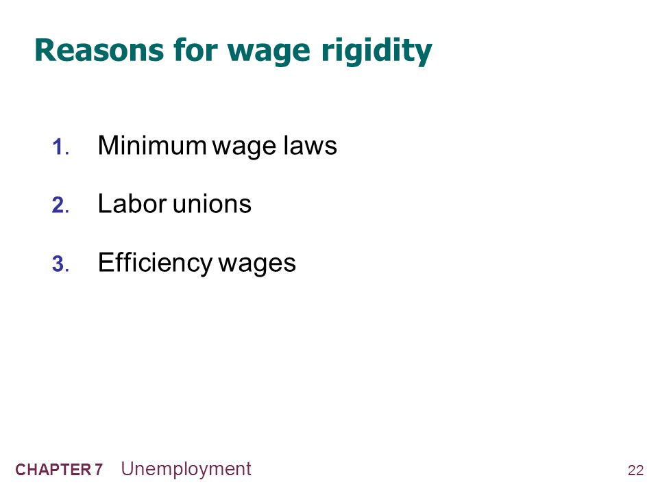1. The minimum wage The min. wage may exceed the eq'm wage of unskilled workers, especially teenagers.