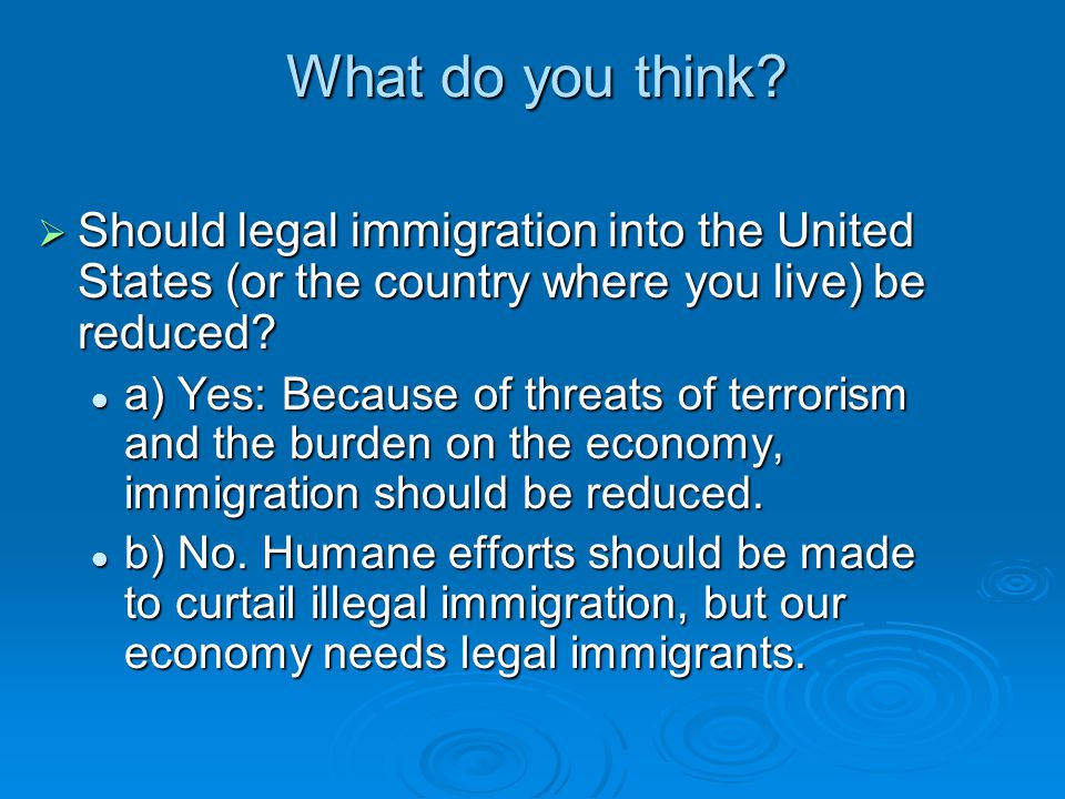 What do you think Should legal immigration into the United States (or the country where you live) be reduced