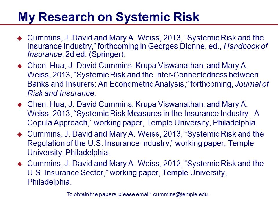 My Research on Systemic Risk