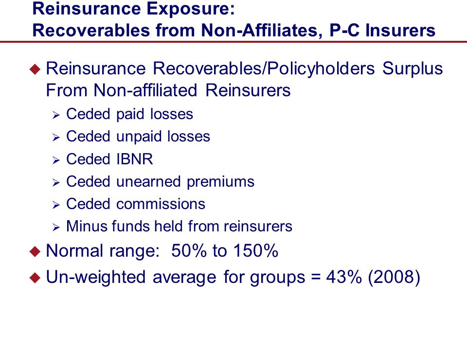 Reinsurance Exposure: Recoverables from Non-Affiliates, P-C Insurers
