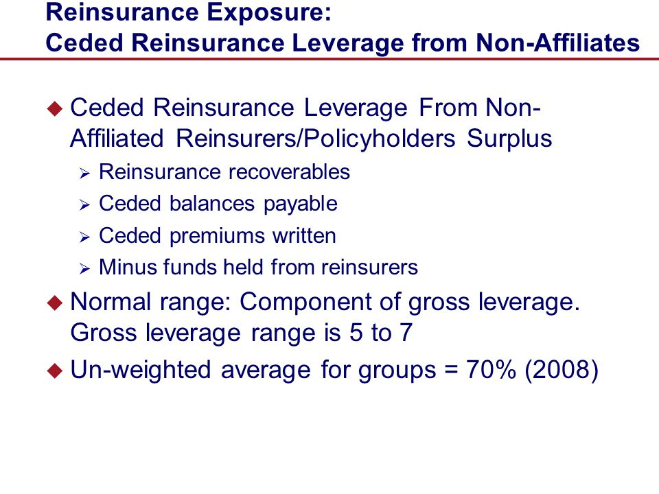 Reinsurance Exposure: Ceded Reinsurance Leverage from Non-Affiliates