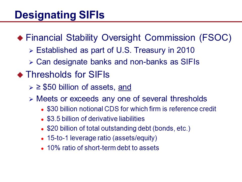 Designating SIFIs Financial Stability Oversight Commission (FSOC)
