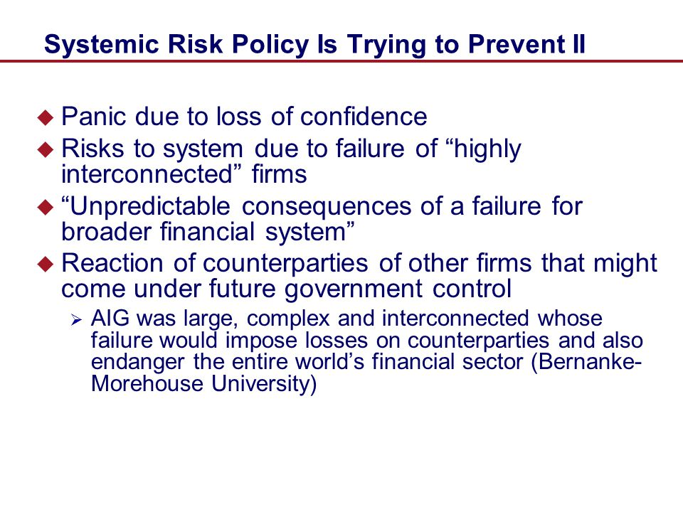 Systemic Risk Policy Is Trying to Prevent II