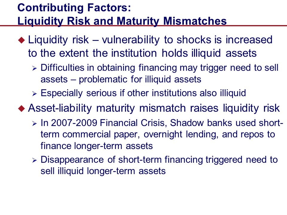 Contributing Factors: Liquidity Risk and Maturity Mismatches