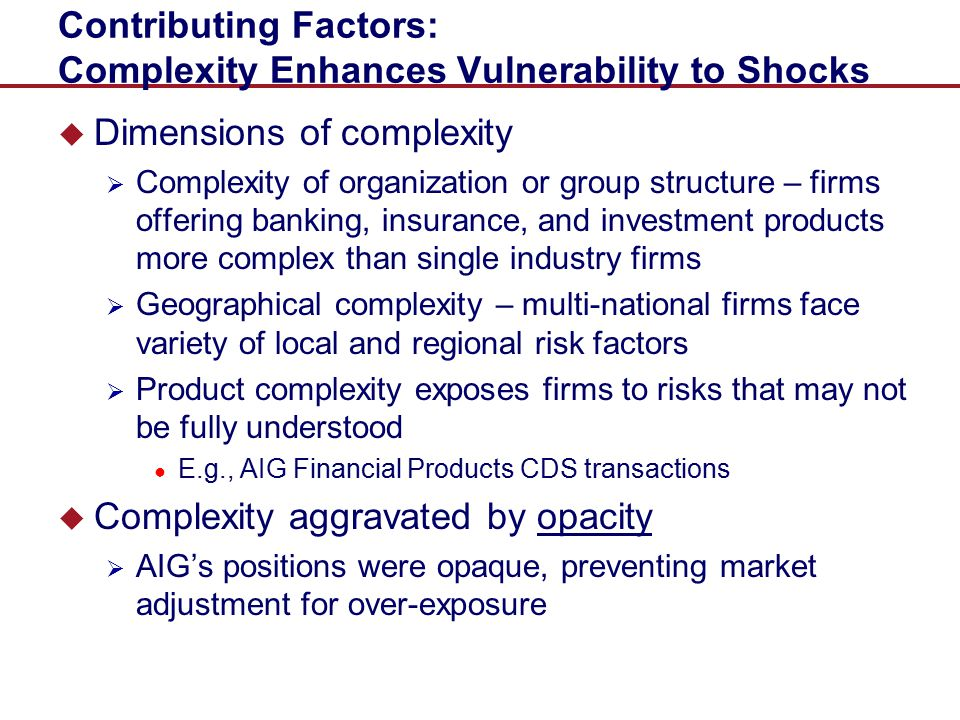 Contributing Factors: Complexity Enhances Vulnerability to Shocks
