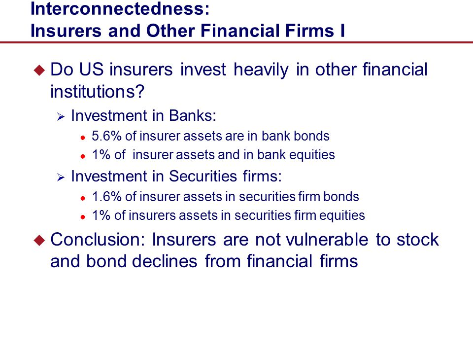 Interconnectedness: Insurers and Other Financial Firms I
