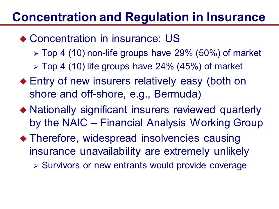 Concentration and Regulation in Insurance