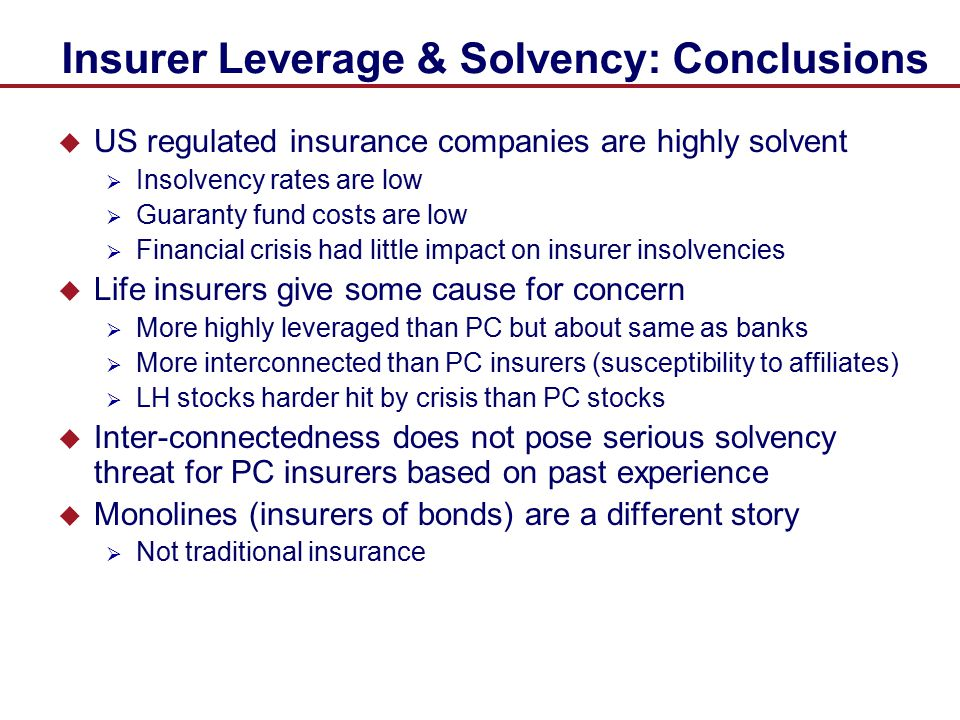 Insurer Leverage & Solvency: Conclusions