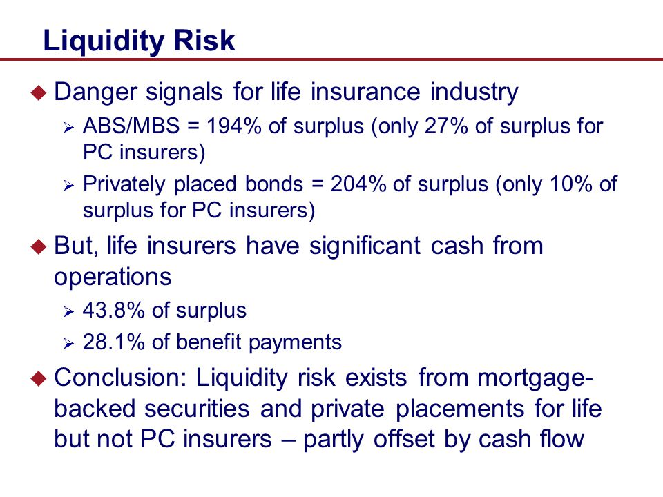 Liquidity Risk Danger signals for life insurance industry