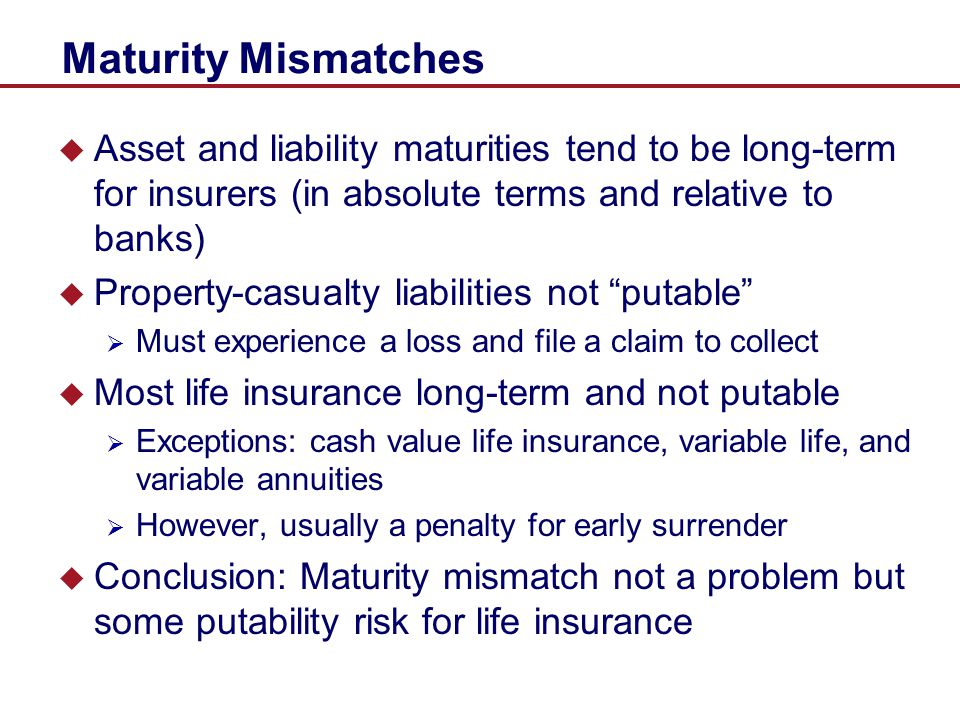 Maturity Mismatches Asset and liability maturities tend to be long-term for insurers (in absolute terms and relative to banks)