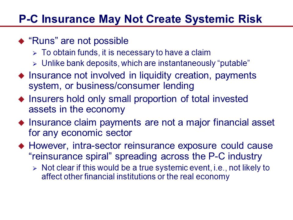 P-C Insurance May Not Create Systemic Risk