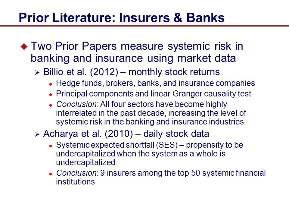 Prior Literature: Insurers & Banks