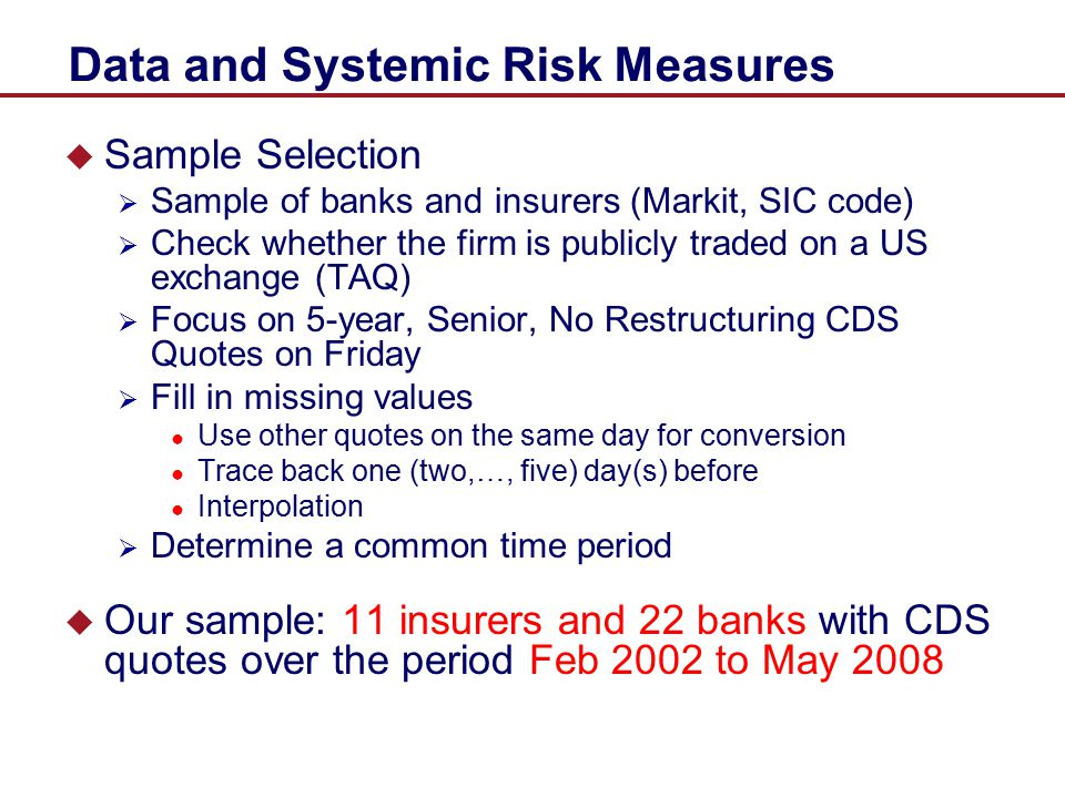 Data and Systemic Risk Measures