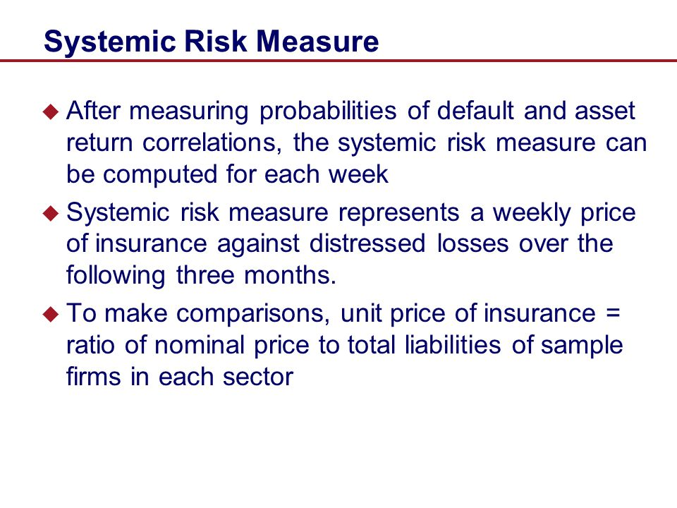 Systemic Risk Measure After measuring probabilities of default and asset return correlations, the systemic risk measure can be computed for each week.