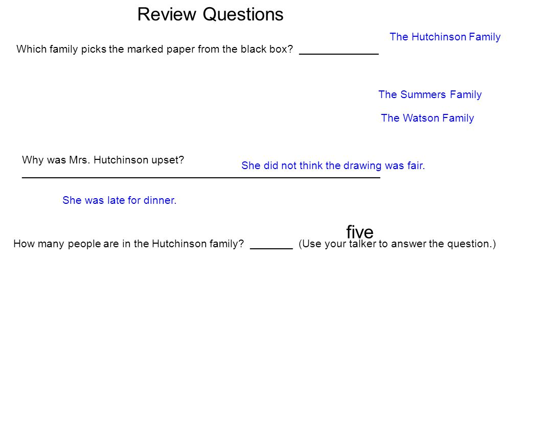 Review Questions five The Hutchinson Family