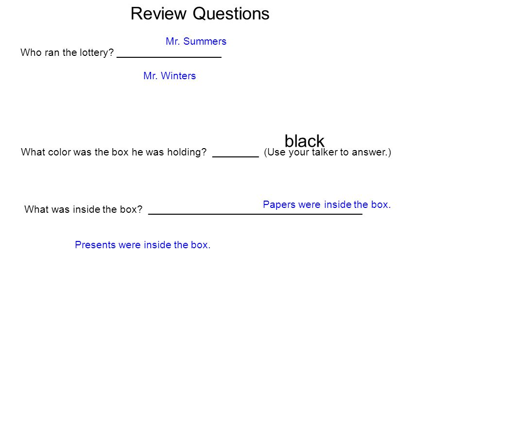 Review Questions black Mr. Summers