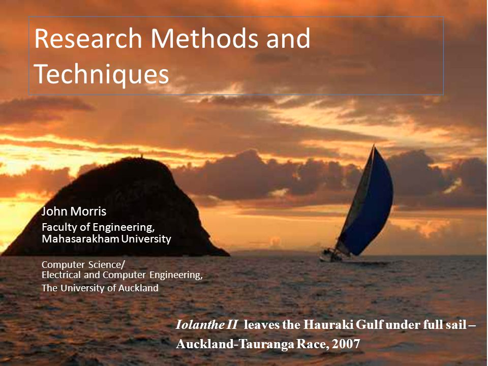 Research Methods and Techniques