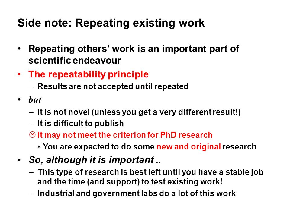 Side note: Repeating existing work