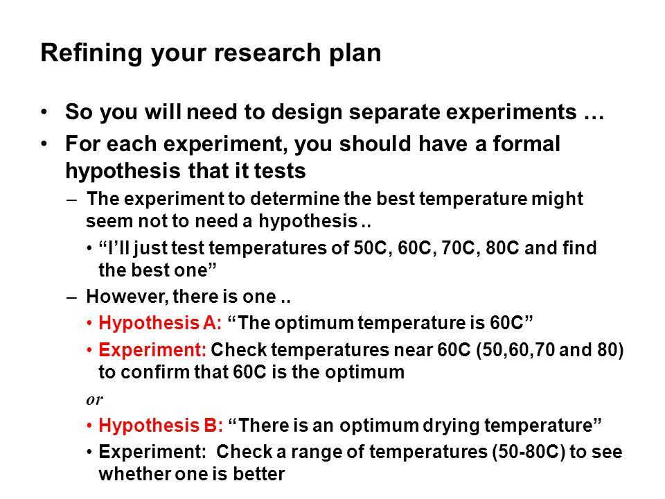 Refining your research plan