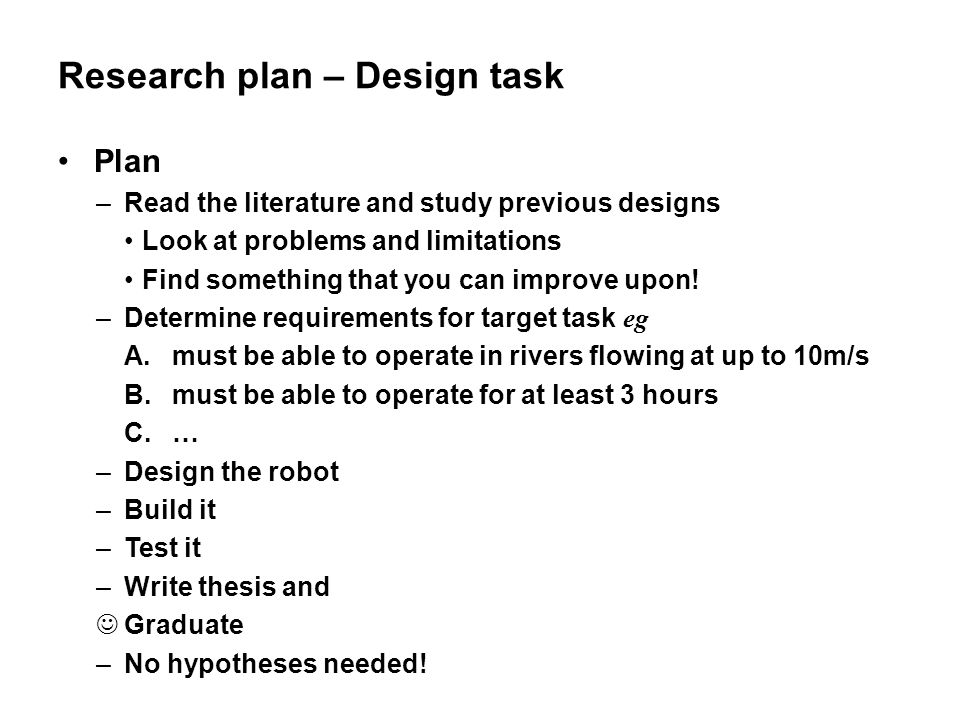 Research plan – Design task
