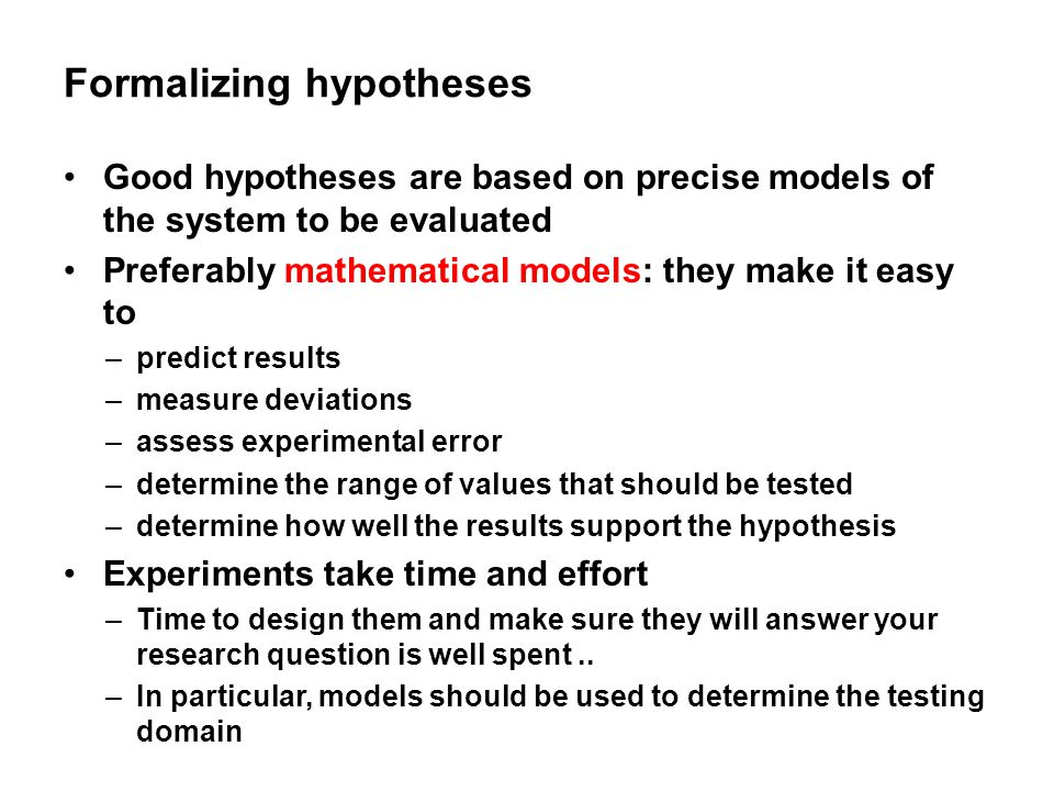 Formalizing hypotheses