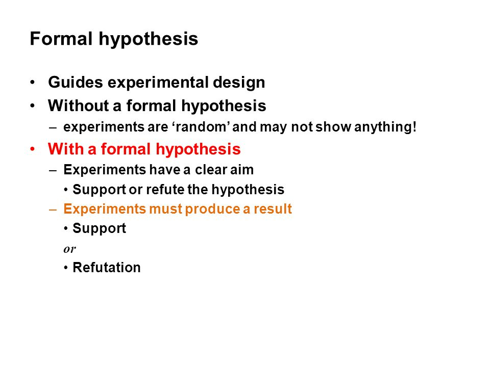 Formal hypothesis Guides experimental design