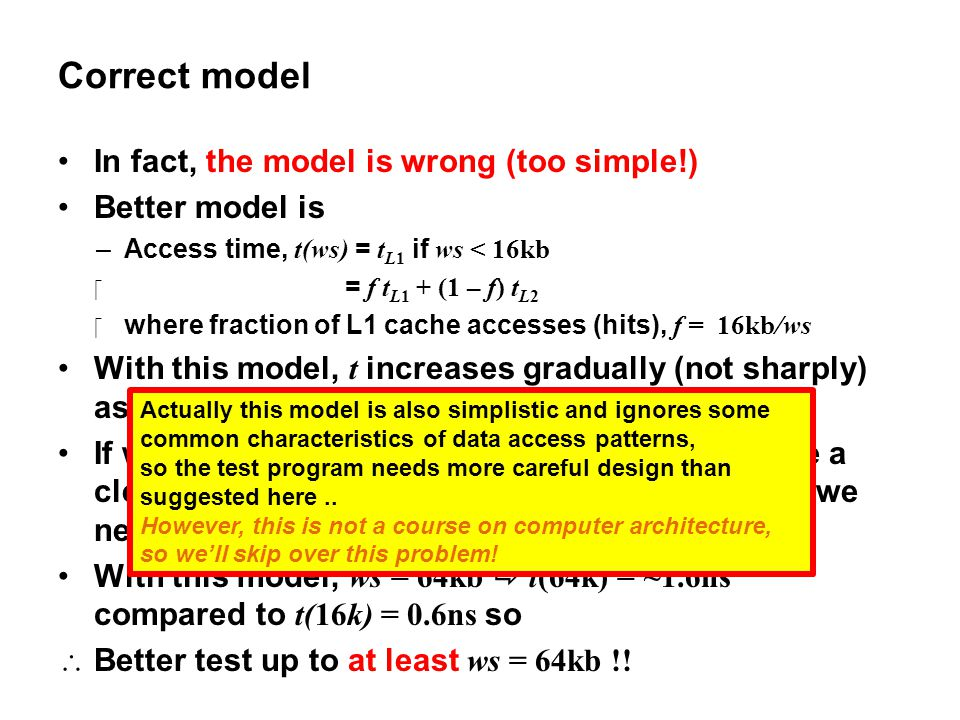 Correct model In fact, the model is wrong (too simple!)