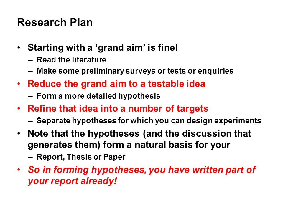 Research Plan Starting with a 'grand aim' is fine!