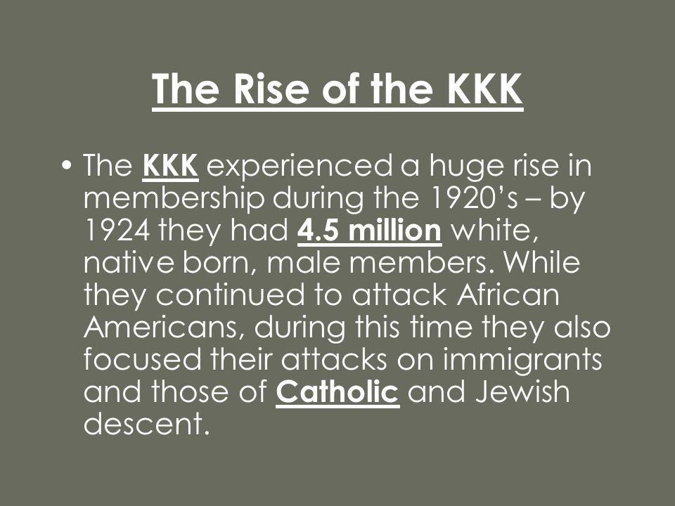 The Rise of the KKK