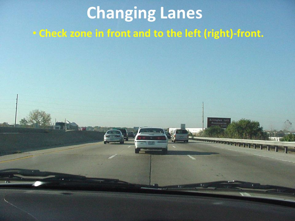 Changing Lanes Check zone in front and to the left (right)-front.