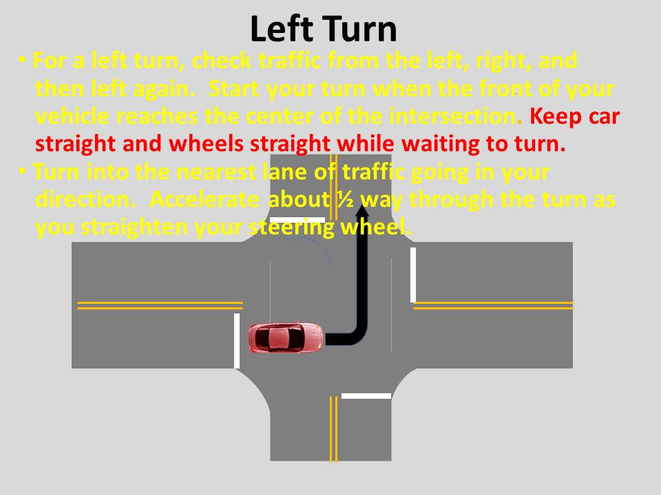 Left Turn For a left turn, check traffic from the left, right, and