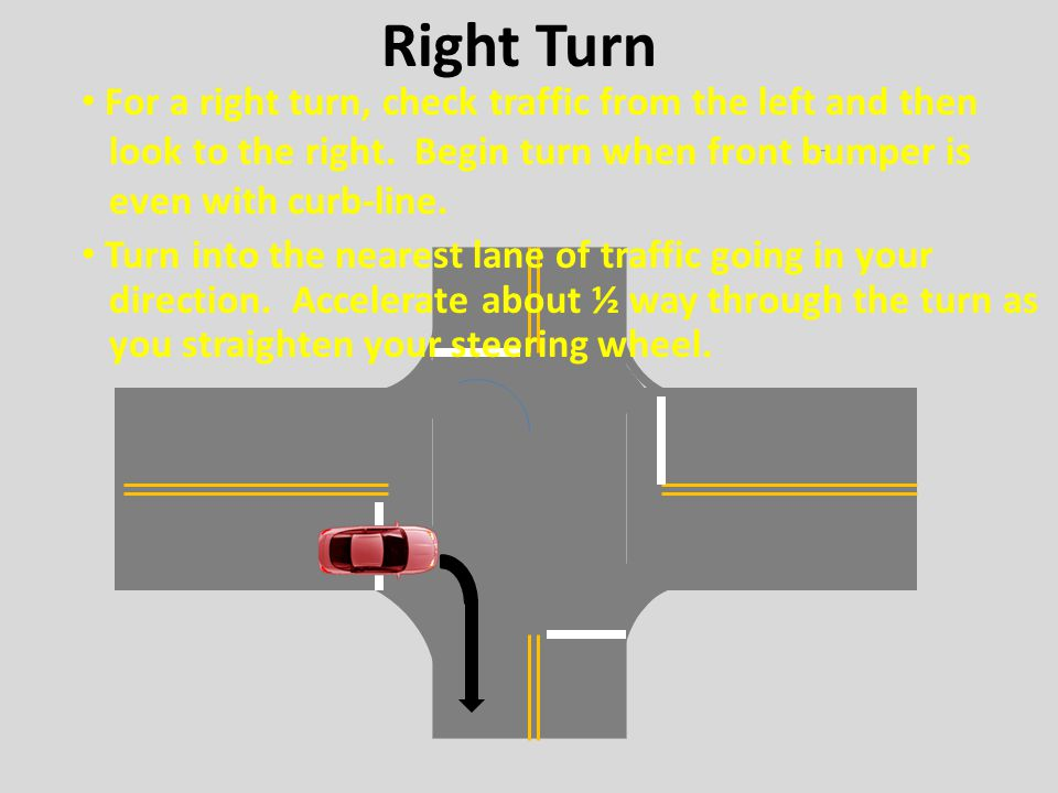 Right Turn For a right turn, check traffic from the left and then
