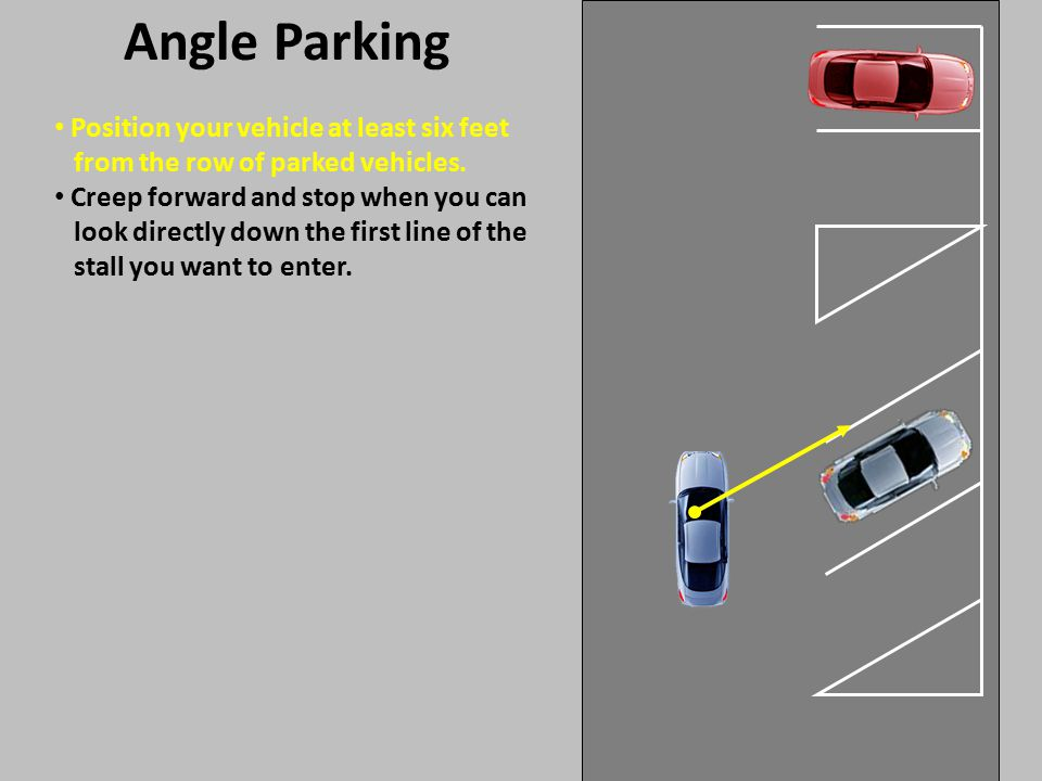 Angle Parking Position your vehicle at least six feet