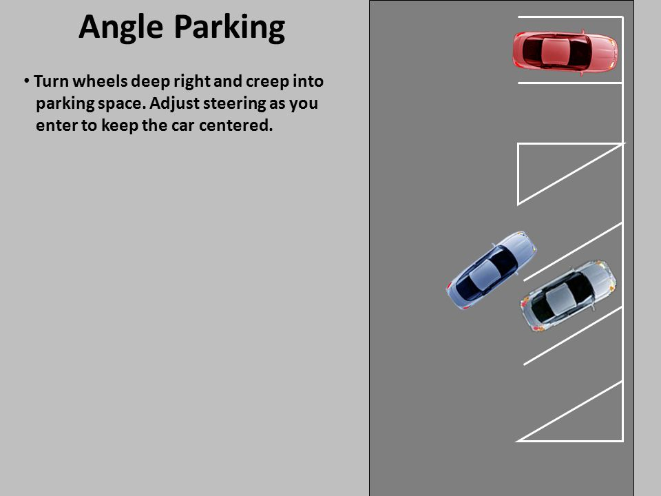 Angle Parking Turn wheels deep right and creep into